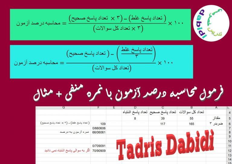فرمول محاسبه درصد آزمون با نمره منفی + مثال